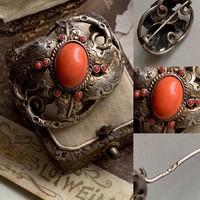 Gyönyörű antik korall bross!! Ezüst
