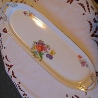 KMP szép virágos porcelán tálca 48,5 x 16,5 cm