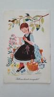 Retro 1966 húsvéti képeslap K. Lukáts Kató rajza régi levelezőlap