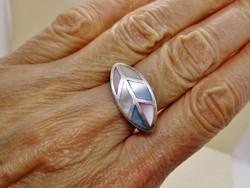 Gyönyörű kézműves zománcos  ezüstgyűrű