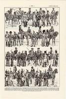 Csendőrség (2), nyomat 1923, francia, 19 x 29 cm, lexikon, eredeti, csendőr, katona, hadtörténet