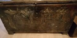 Láda  kelengyés láda, 19. századi láda néprajzi láda, antik bútor
