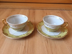 Ritka Zsolnay pompadour stílusu kávés csésze pár