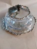 Ezüst kinálo ķék kristály betéttel. 358gr/800 olasz antik