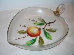 Antik kézzel festett szakított üveg gyümölcstál / asztalközép / kínáló