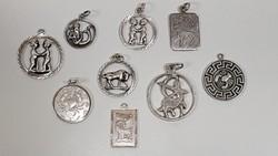 9db horoszkópos ezüst medál egy csomagban