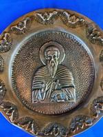 Krisztus bronz tál dombornyomott