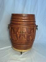 Drinking carved barrel
