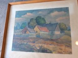 Erdős M. szignóval ellátott tanyát ábrázoló akvarell festmény