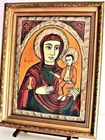Nagyméretű ikon; a máriapócsi Istenszülő/Könnyező Madonna,fatáblán, kézzel festett,aranyozott