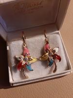Vintage aranyozott fülbevaló színes zománccal