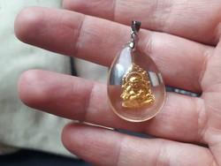 925 ös ezüst medál arany buddhával