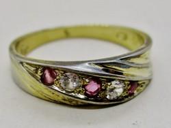 Gyönyörű  régi ezüstgyűrű rubin és fehér zafír kövekkel