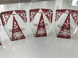 Karl Palda likőrös poharak virág mintával