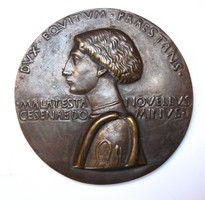 Domenico Novello Malatesta (1418-1465),reneszánsz bronz plakett ~1445