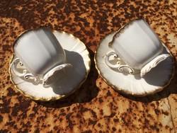 Sarreguemines krémszínű fajansz kávés csésze pár