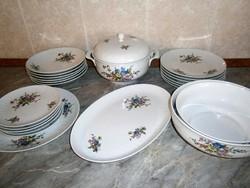 Nagyon ritka, antik GDR Henneberg 6 személyes porcelán étkészlet gyönyörű virág mintával