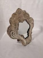 Ezüst keretes asztali tükör.Antik. Kézzel cizellált . Ritka!