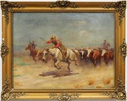 Viski János: Cowboyok ,olajfestmény