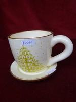 Kerámia karácsonyi bögre alátéttel. magassága 8,5 cm, átmérője 10 cm.