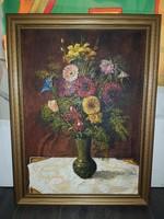 """Szabó Lajos (1927-1995), Munkácsy-díjas festőművész, """"Virágok piros masnival"""", 50x70+keret"""