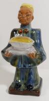 Kínai férfi tállal - mázas iparművészeti kerámia szobor/figura