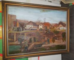 """Szabó Lajos (1927-1995), """"Árvíz után"""", Munkácsy-díjas festőművész, 50x70+keret"""