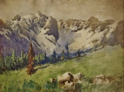 Neogrady Antal : A havas Tátra látképe, akvarell