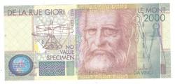 De La Rue Giori L D Vinci Le Mont 2000 Specimen Minta UNC