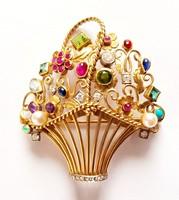 Gyönyörű 14K arany Luxus Női Drágakő Kosár Bross gyémánt,smaragd,zafír,rubin