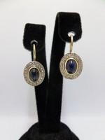Zafíros - gyémántos arany fülbevaló pár
