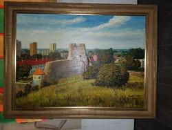 """Szabó Lajos (1927-1995), Munkácsy-díjas festőművész, """"Városrészlet várral"""",, 50x70+keret"""
