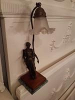 Szecessziós figurális asztali lámpa női alakkal