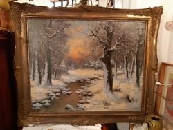 Csókfalvy Raffay Sándor :Téli táj, téli erdő, hatalmas festmény