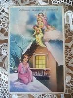 Régi szép karácsonyi képeslap - angyal