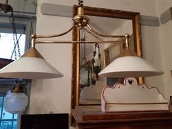 Húzható, állítható magasságú 2 porcelán búrás csillár, lámpa