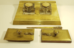 Antik réz tintatartó / íróasztal szett kiegészítőkkel