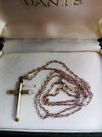 Antik Férfi 14 karátos arany nyaklánc kereszt medállal