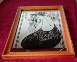 Szecessziós, 2 női alakos tükör-kép,  34 x 23,5 cm