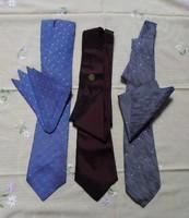 Retro nyakkendők, díszzsebkendővel (1970-es évek)