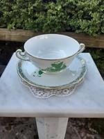 Herendi zöld apponyi mintás leveses csésze tányérral