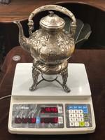 Ezüst teáskanna melegítővel