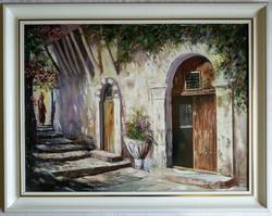 """Adilov Kabul """"Megérkezés"""" olajfestmény eredeti keretben ingyen postával"""