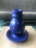 Kerámia gyertyatartó, kék virágos