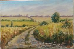 Antyipina Galina: Egy út, olajfestmény, vászon, 30x20cm