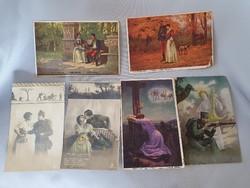 Háborús katonai romantikus, szerelmes emlék képeslapok 6 db