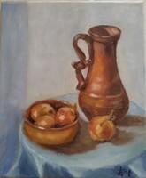Antyipina Galina: Csendélet hagymával, olajfestmény, vászon, 25x30cm