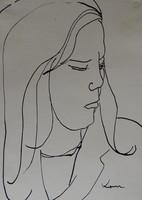 Koncz Béla : Női portré tanulmány, tus