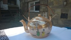 Japán teáskanna-kiöntő  kézzel festett,gyöngyház színű porcelán-30-as évekből