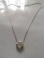 Olcsó!!! Ezüst nyaklánc art deco stílusú kereszt medállal